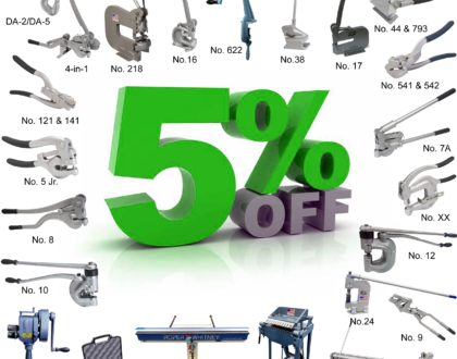 5% Off All Hand Tools, Bench Punches and More For the Month of February